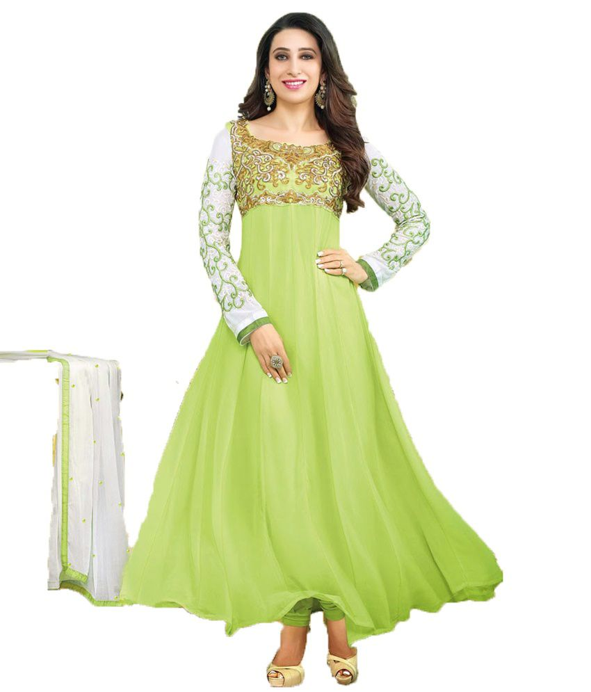 b68867785c1 Party Wear Dresses Green Faux Georgette Unstitched Dress Material - Buy Party  Wear Dresses Green Faux Georgette Unstitched Dress Material Online at Best  ...