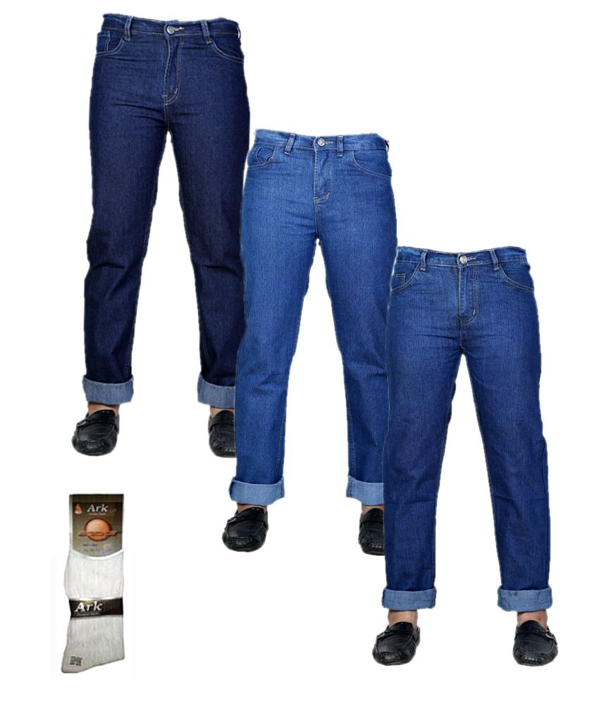 Sam & Jazz Combo Of 3 Denim Jeans With Free 1 Pair Of Assorted Socks