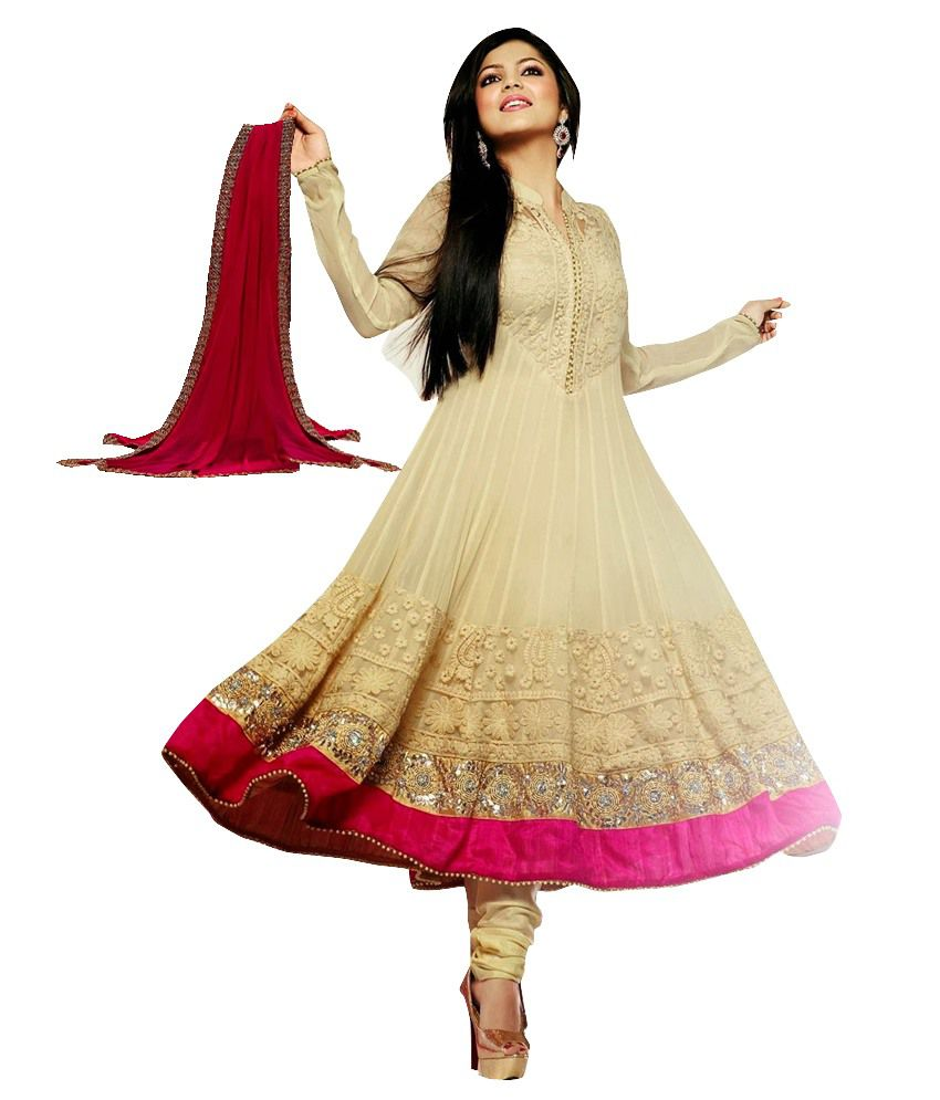Saree.com Ghostwhite Embroidered Pure Georgette Stitched Anarkali Salwar Suit