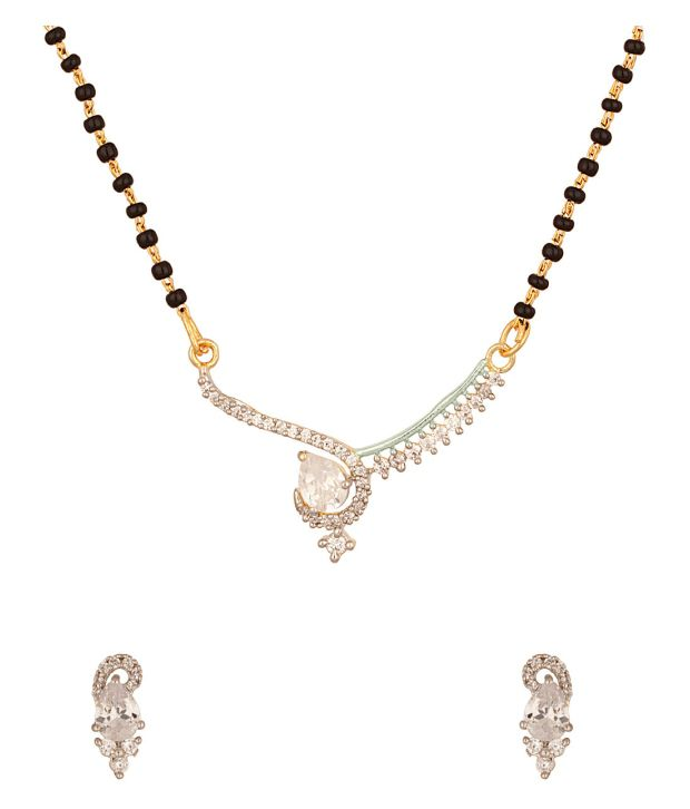 Voylla Gold Plated Single Strand Mangalsutra Set Studded With Radiant Cz Stones