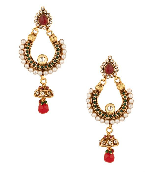 Voylla Traditional Jhumki Earrings With Red Stone
