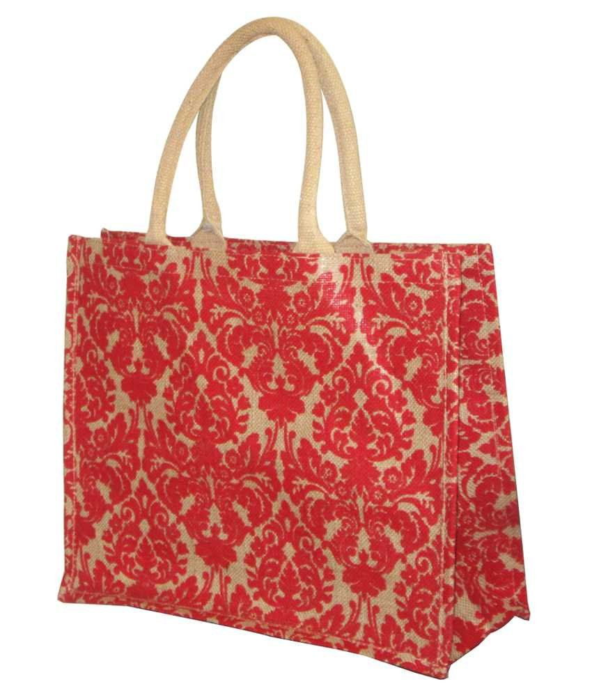 Earthbags Damask Print Jute Bag In Red