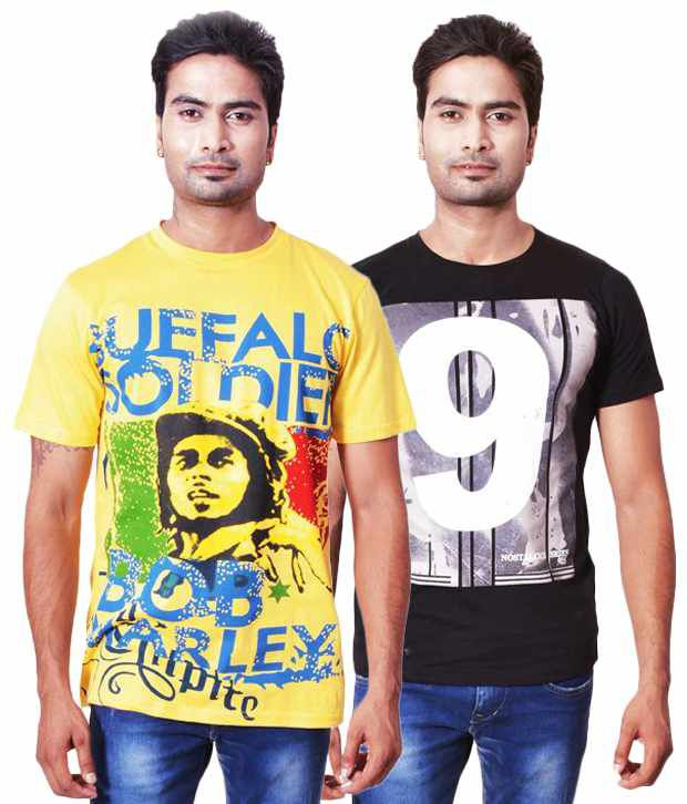 Fabulook Yellow Cotton T-shirt (combo Of 2)