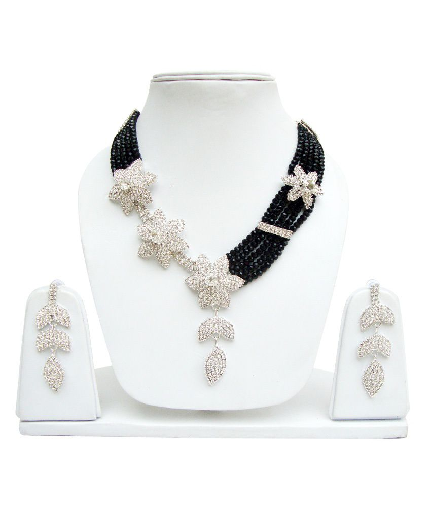 Lucky Jewellery Black Crystal Silver Plated Necklace Set