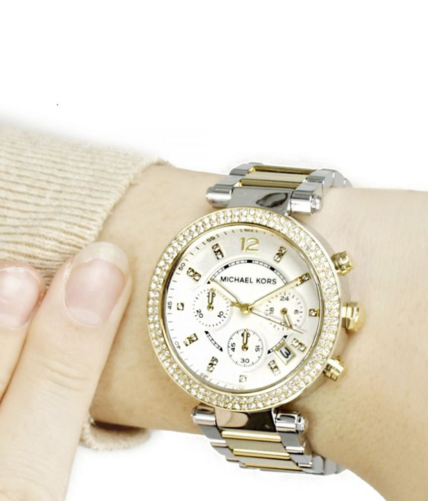 eab357462418 ... Michael Kors Women s Chronograph Parker Two Tone Stainless Steel  Bracelet Watch Mk5626 ...
