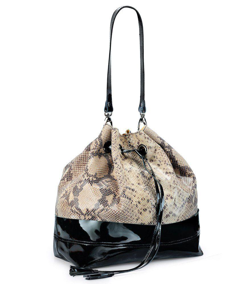 Teakwood Black Leather Shoulder Bag