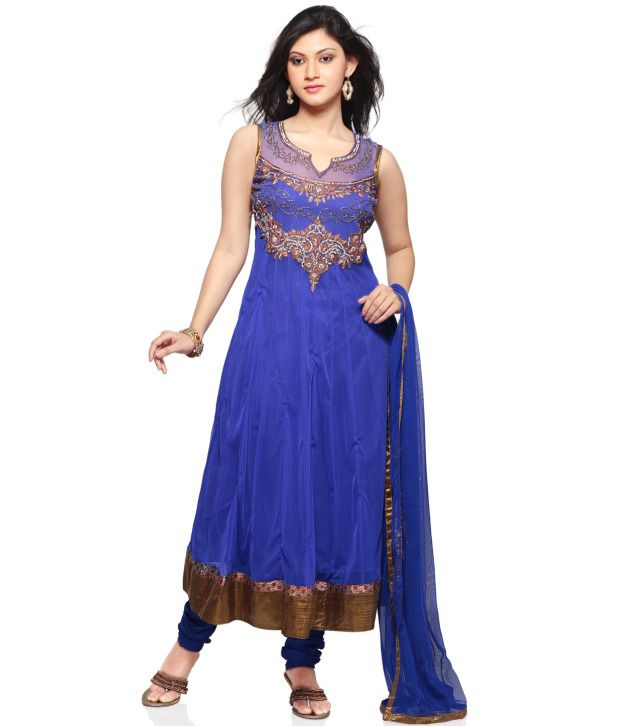 Utsav Fashion Blue Embroidered Net Stitched Regular Fit  Salwar Suit