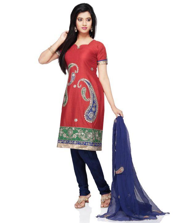 Utsav Fashion Red Embroidered Cotton Stitched Regular Fit  Salwar Suit