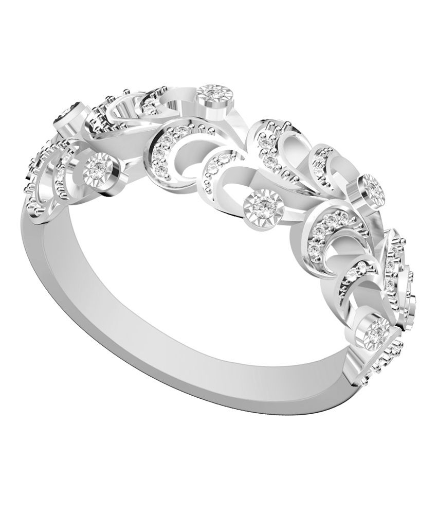 Vivre Jewels Beautiful Natural Diamond Solid 18k White Gold Half Eternity Wedding Band Ring