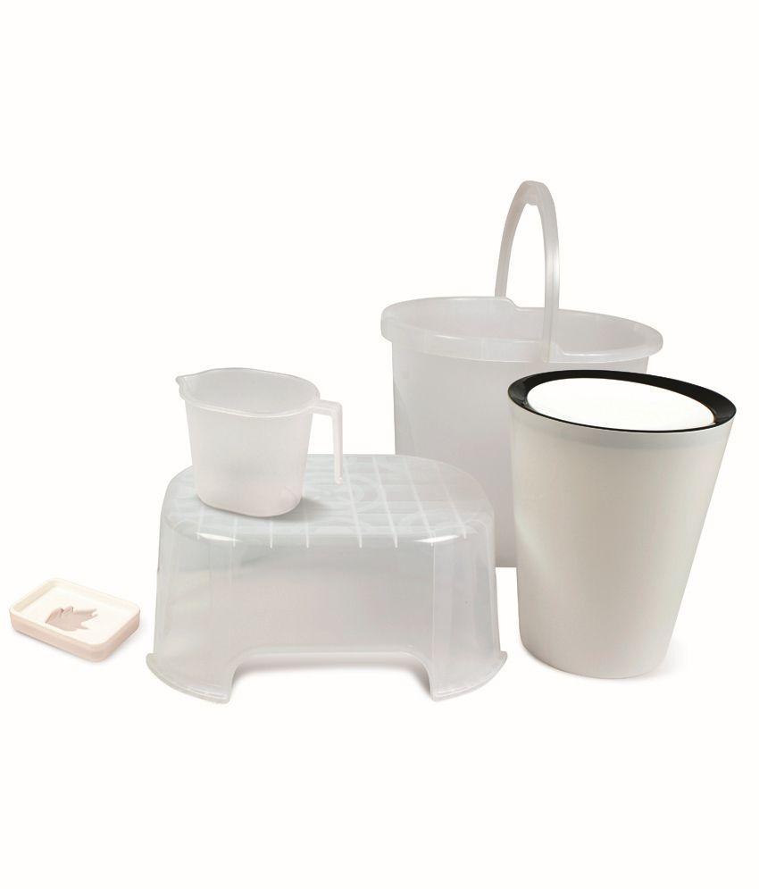 Plastic bathroom sets - Varmora White Virgin Plastic Bath Sets Set Of 5