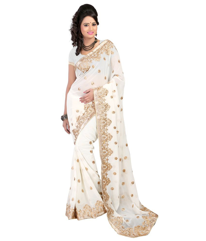 8284d05d0e Bunny Sarees White and Beige Georgette Saree - Buy Bunny Sarees White and  Beige Georgette Saree Online at Low Price - Snapdeal.com
