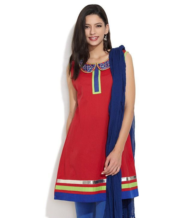 Seema Style Red Embroidered Cotton Kurti