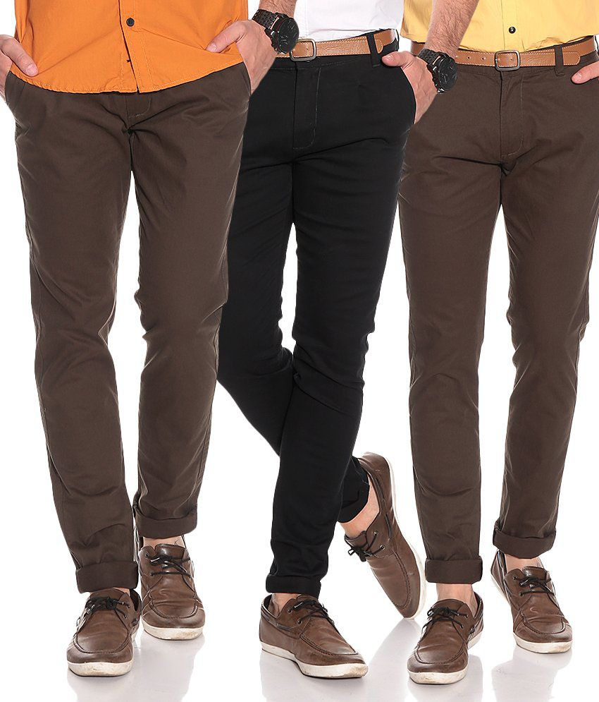 Silver Streak Brown Slim Casuals (combo Of 3)