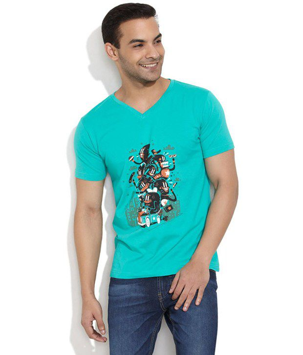 Stitche Blue Cotton T-shirt