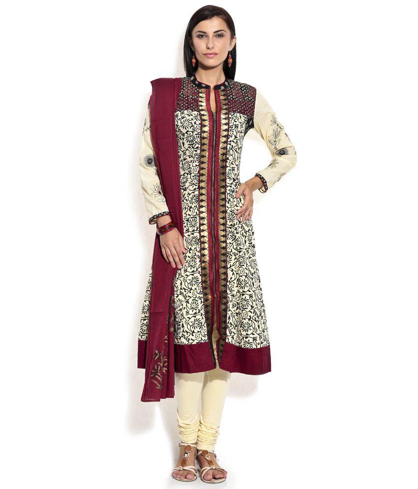 Biba GhostWhite Printed Cotton Stitched Regular Fit  Salwar Suit