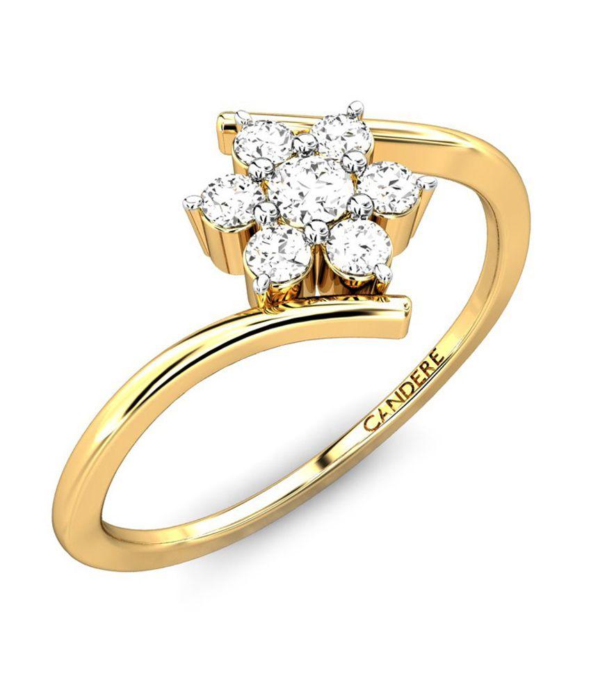 Candere Dhruvika Trendy Diamond Ring - Yellow Gold