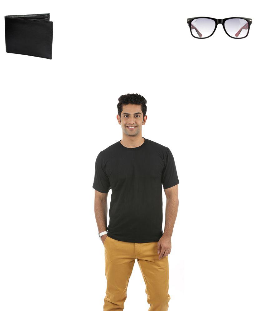 Fidato Black Cotton T-ShirtWith Wayfarer sunglasses and Leather Wallet