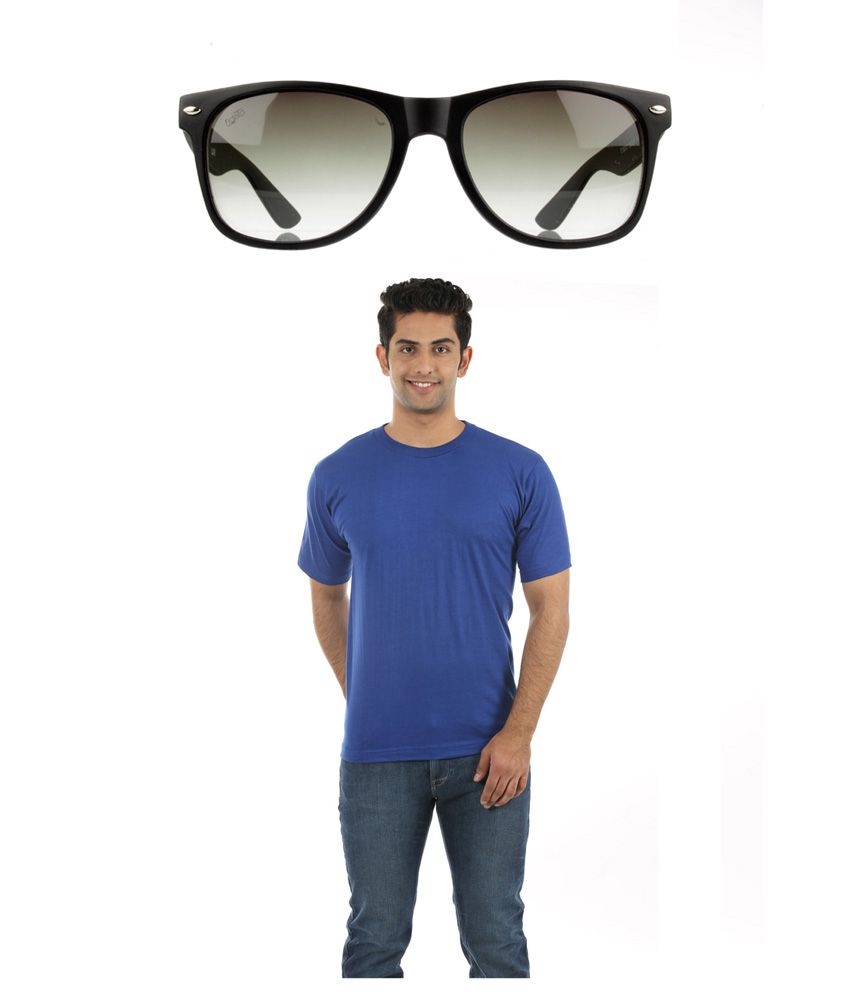 Fidato Blue Cotton T-ShirtWith Wayfarer Sunglasses