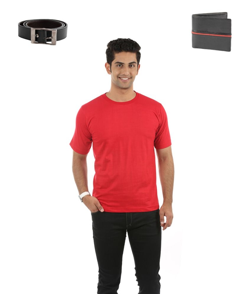Fidato Red Cotton T-ShirtWith Leather wallet and belt