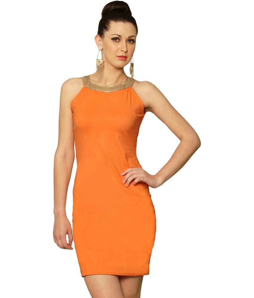 Miss Chase Orange Cotton Mini Bodycon Dresses For Women Sleeveless Sequined Casual Wear