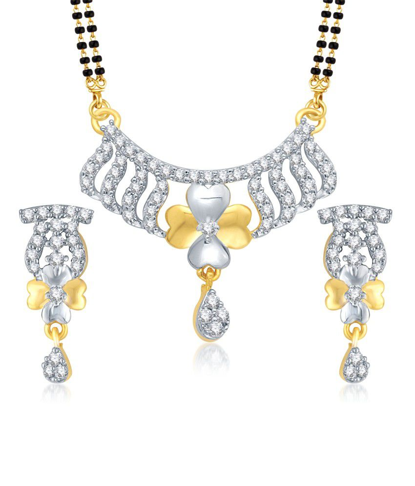 Vk Jewels Sun Flower Gold And Rhodium Plated Mangalsutra Pendant Set With Earrings