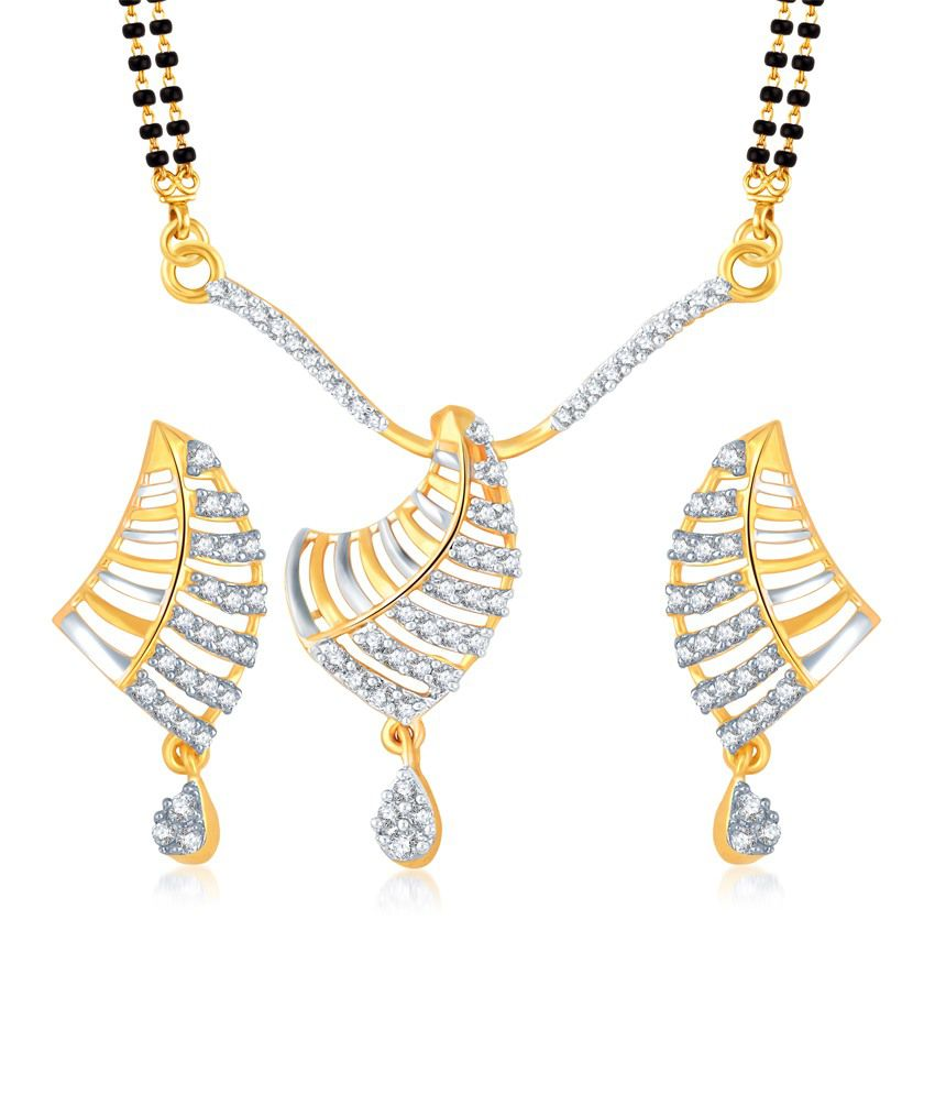 Vk Jewels Traditional Gold And Rhodium Plated Mangalsutra Pendant Set With Earrings