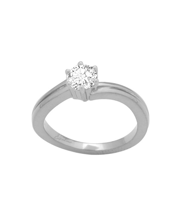 Ciemme 92.5 Sterling Silver 1.20 Ct Solitaire Cz Diamond Studded Ring With Gift Box