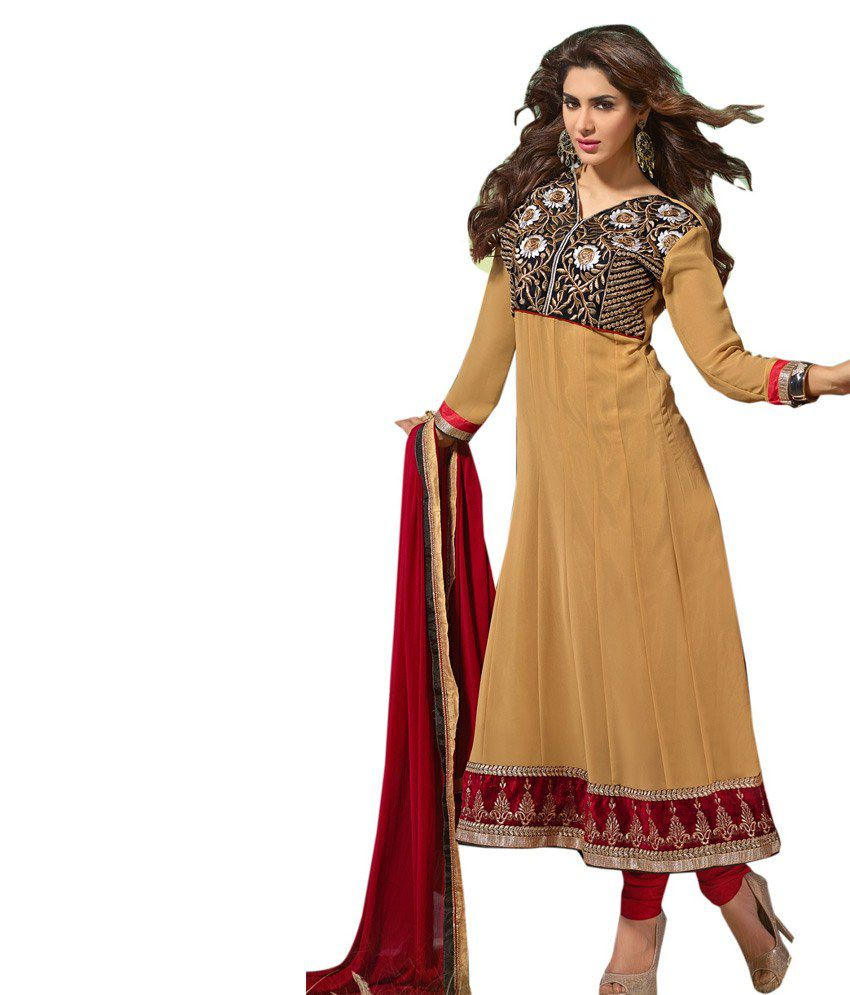 Desi Girl Light Brown Pure Georgette Emroidered Dress Material
