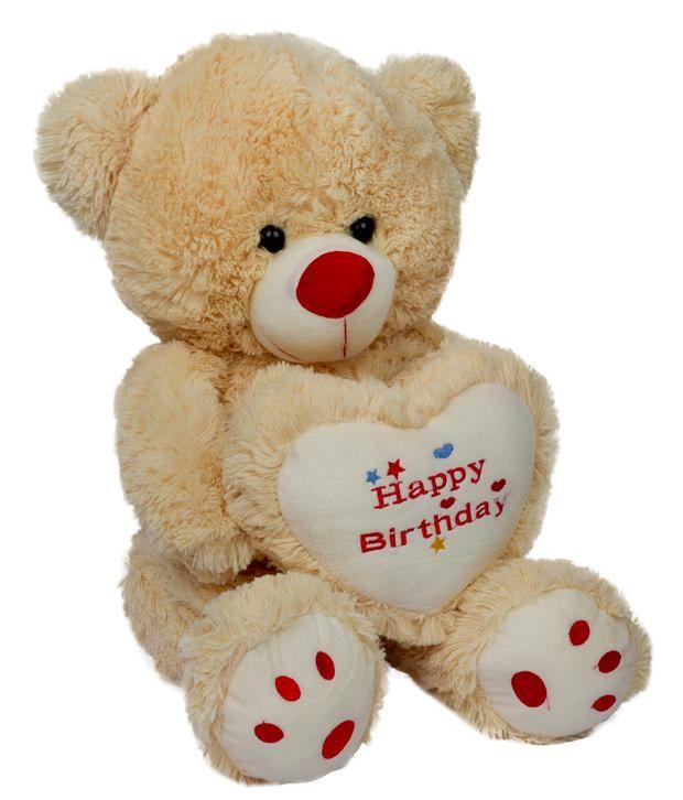 Dhoom Soft Toys Teddy Bear Beige With Happy Birthday