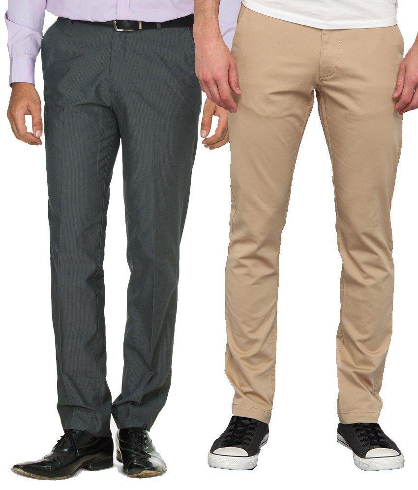 Mera Kapda Pack Of 2 Formal With Casual Trouser For Men