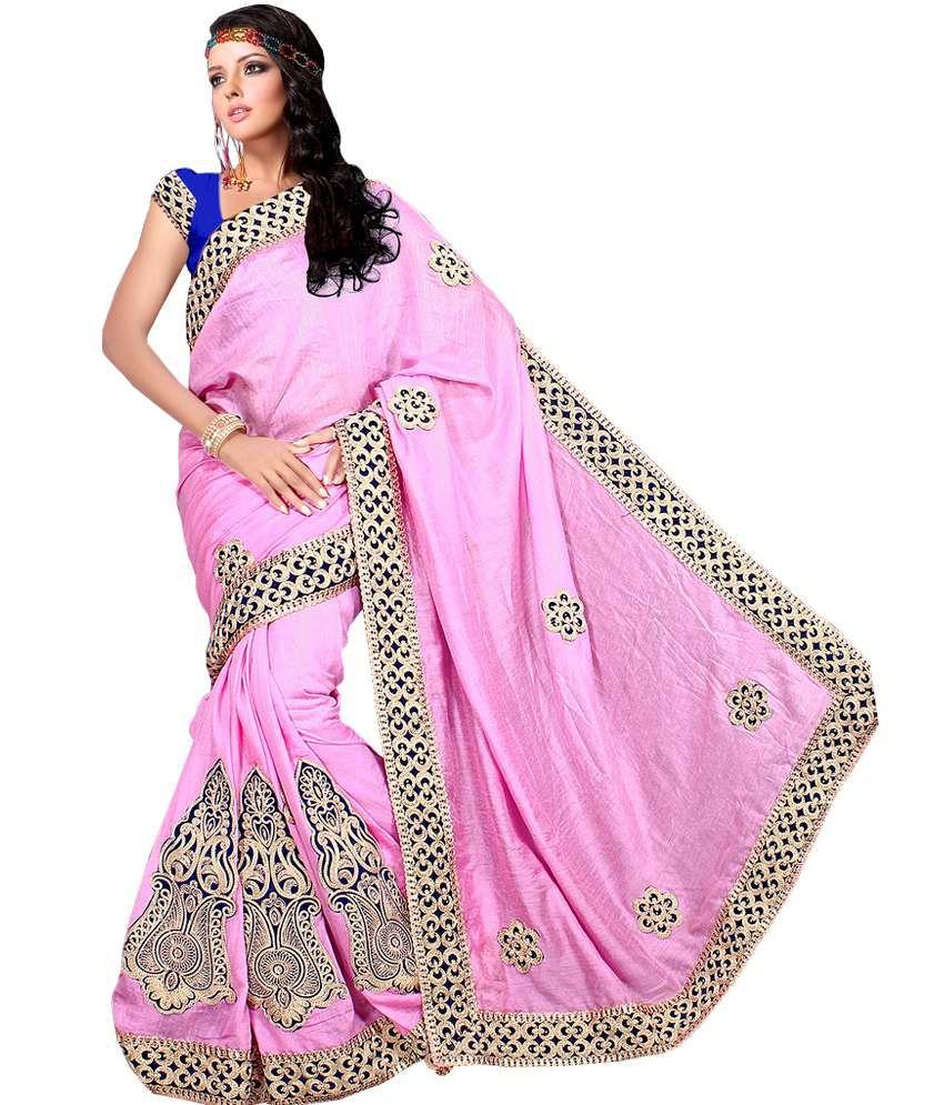 Online Boutique Fancy Pink Pastel Jute Designer Sarees With