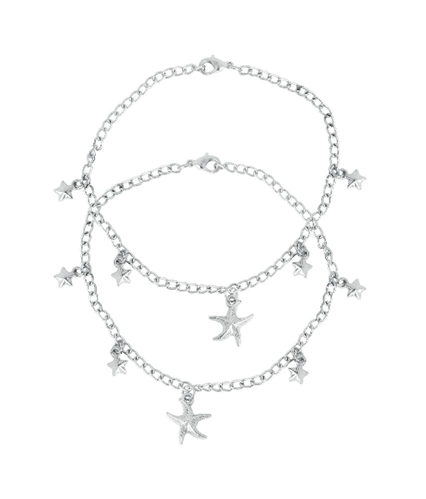 Touchstone Anklets Pair With Cute Silver Star Charms