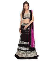 Goyal Silk Mills Black Embroidered Net Unstitched Lehenga