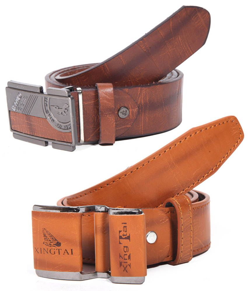 Coaster Brown Casual Single Belt For Men (combo Of 2)