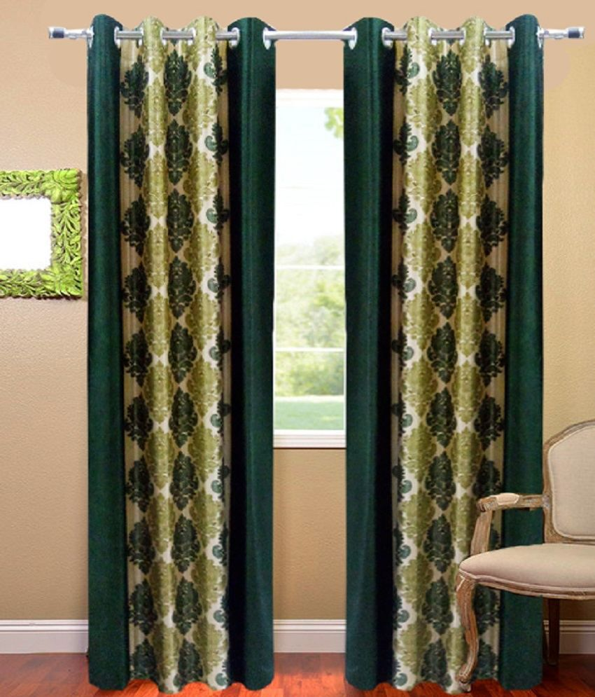 Homefab India Set of 2 Window Eyelet Curtains Floral Green