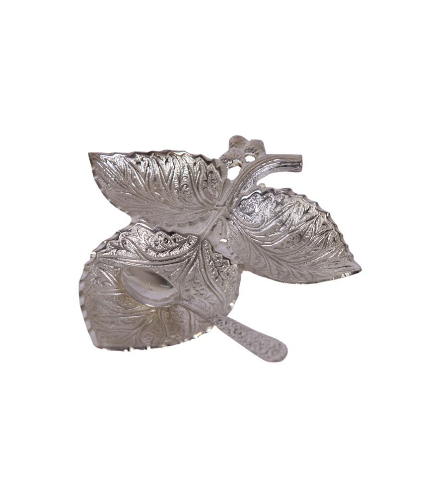 Mia German Silver 3 Small Leaf Bowl Set With Spoon