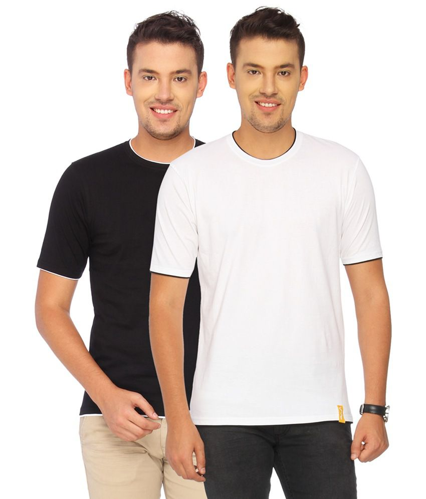 Campus Sutra White Cotton T-shirt Combo Of 2