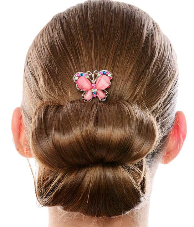 Cinderella Fashion Jewelry  Pink Butterfly Hair Clip