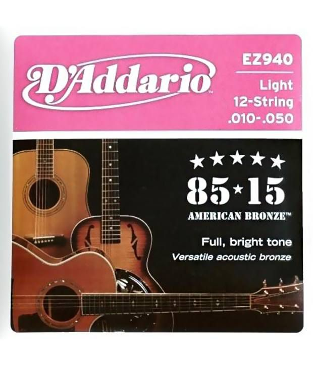 d 39 addario ez940 12 string 85 15 bronze light acoustic guitar strings buy d 39 addario ez940 12. Black Bedroom Furniture Sets. Home Design Ideas