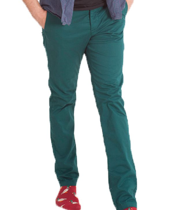 Green Signal Trouser In Peocock Colour