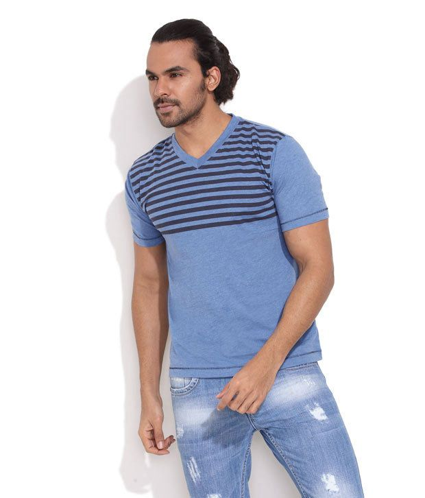 Rattrap Medium Blue Striped Casual T-Shirt