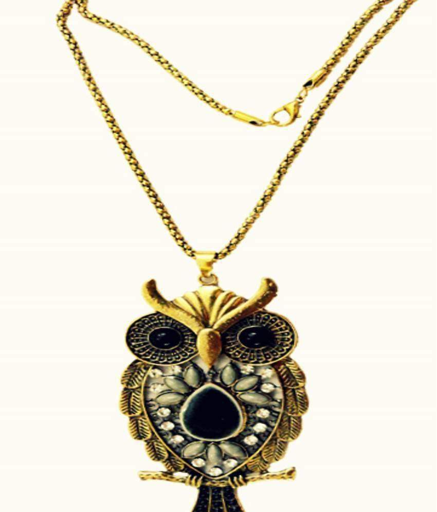 Vishful Delights Black Owl Trendy Necklace