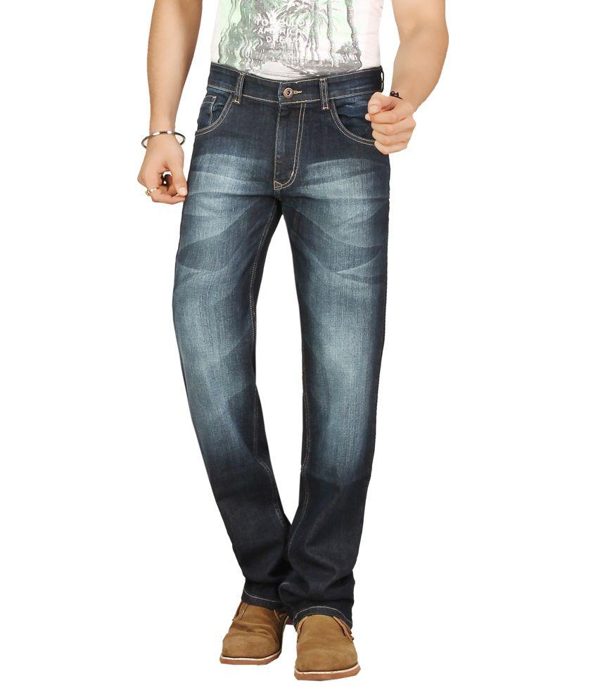 Warewell Dark Blue Regular Fit Mid Rise Denim Jean For Men