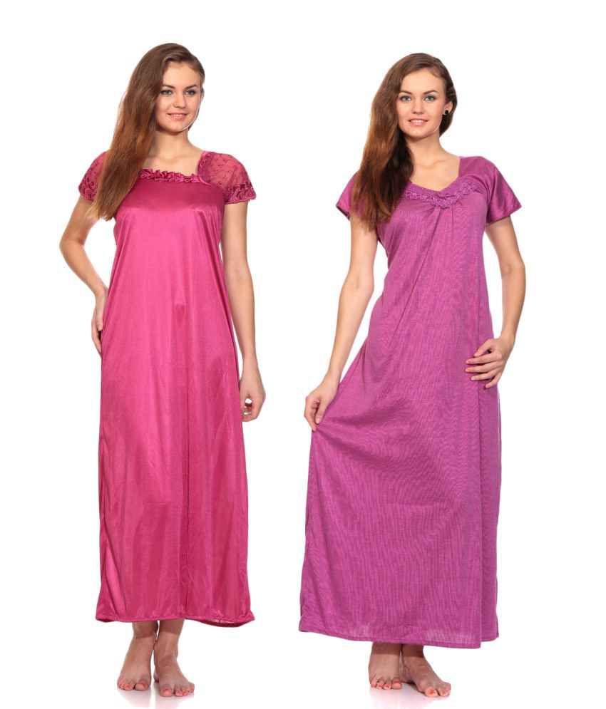 Buy Zion Purple Satin-Cotton Nighty   Night Gowns Pack of 2 Online at Best  Prices in India - Snapdeal c438fcf34