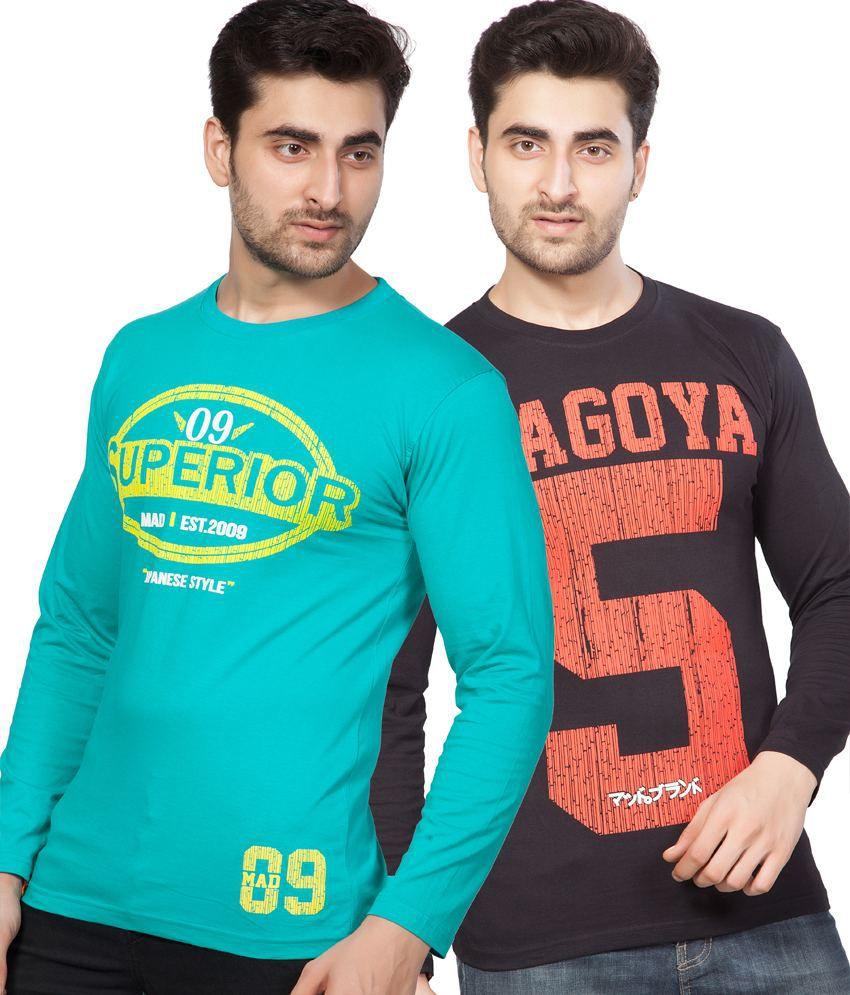 AJC Printed Black Green Full Cotton T-Shirt-Pack of 2