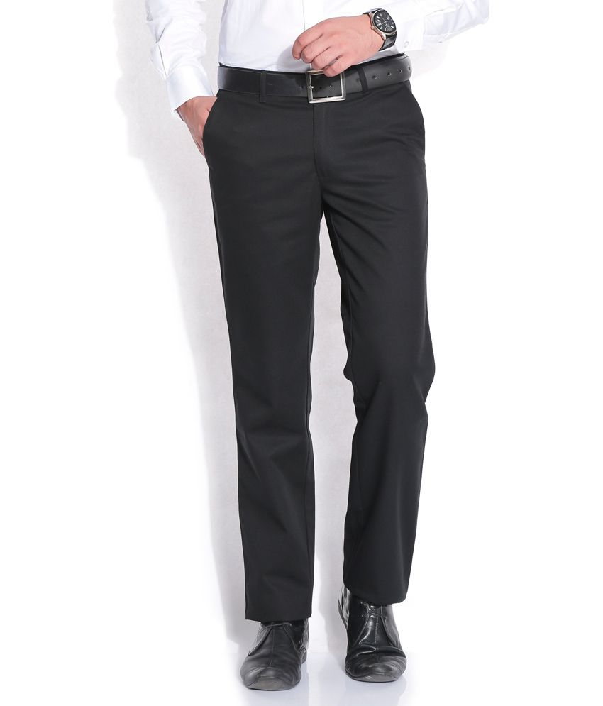John Players Black Regular Formals Trousers & Chinos