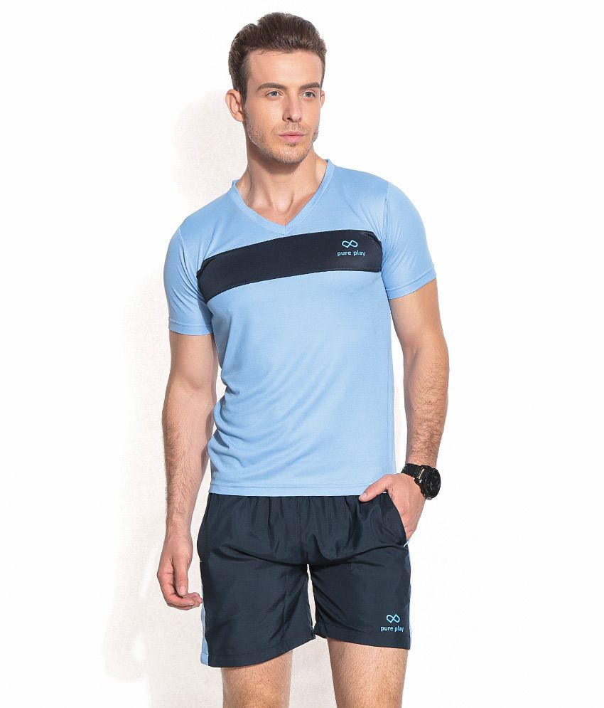 Pure Play Blue Polyester T-shirt Combo Of 1 T Shirt And 1 Shorts