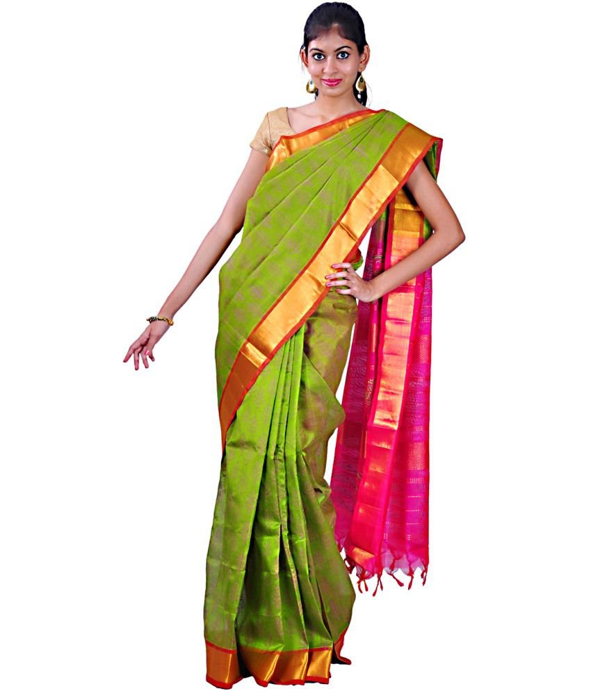 76a60df180 Urvashi Green Printed Cotton Silk Saree With Blouse Piece - Buy Urvashi Green  Printed Cotton Silk Saree With Blouse Piece Online at Low Price -  Snapdeal.com