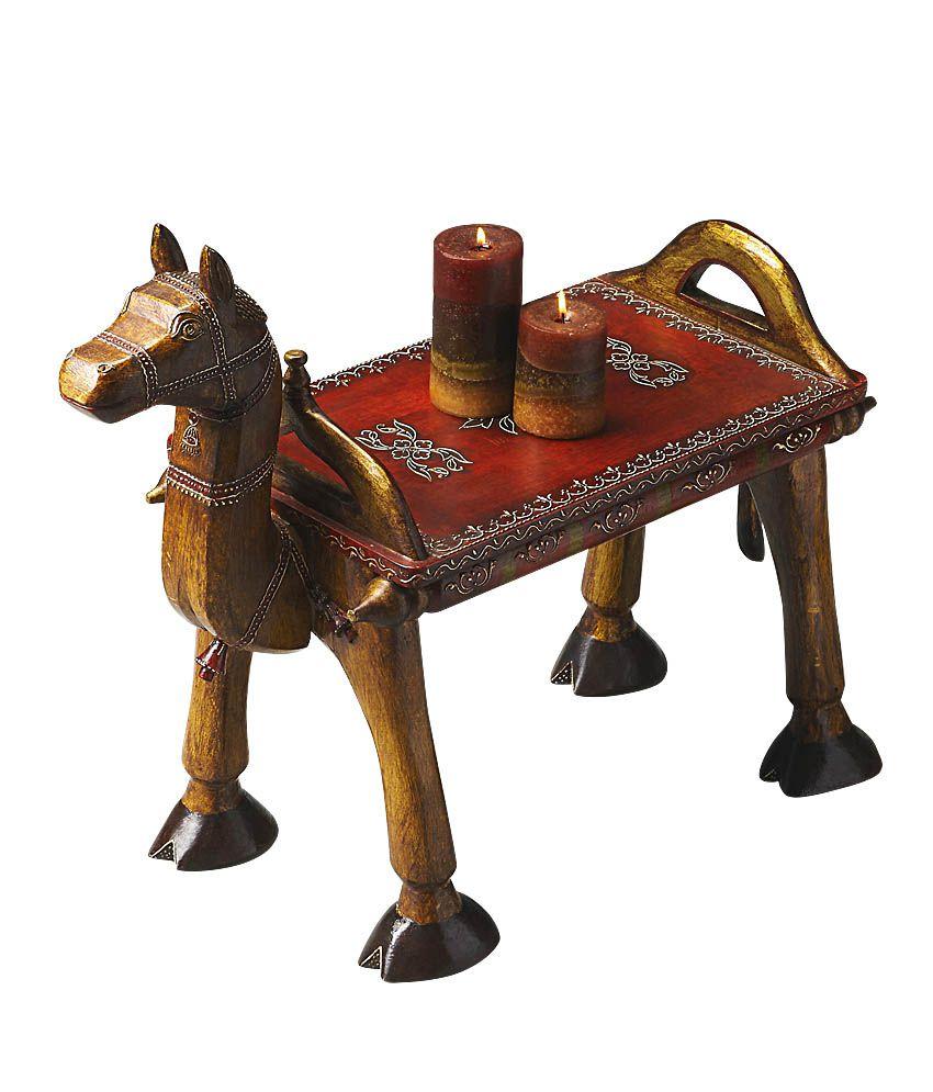 Buy Vintage Furniture: Vintage Furniture Brown Jodhpuri Pented Camel Table