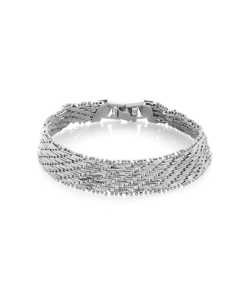 Voylla Elegant Mens Bracelet On Rhodium Plating